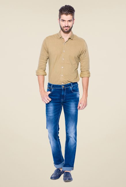Mufti Dark Blue Heavily Washed Skinny Fit Jeans