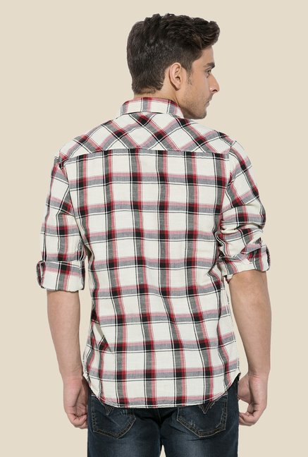 Mufti Red Checked Full-sleeved Shirt