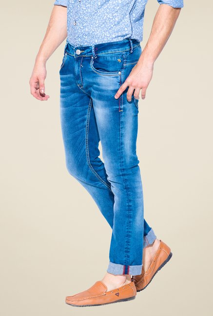 Mufti Blue Slim Fit Cotton Jeans