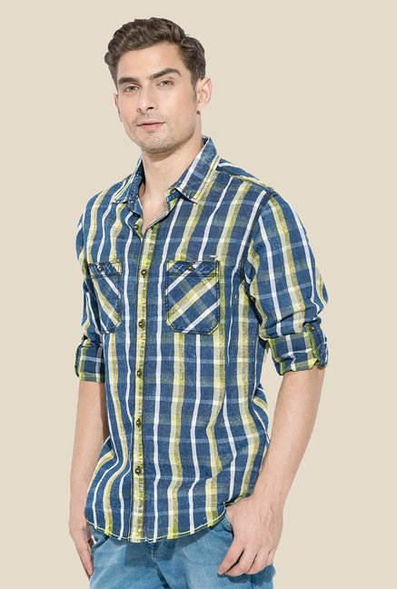 Mufti Lime Checked Shirt