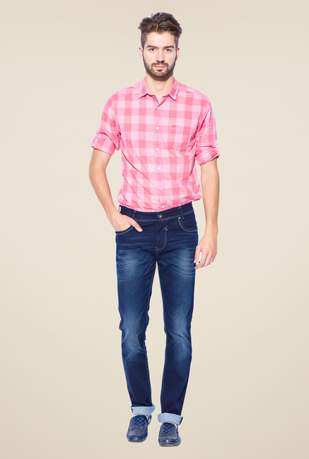 Mufti Blue Heavily Washed Solid Cotton Jeans