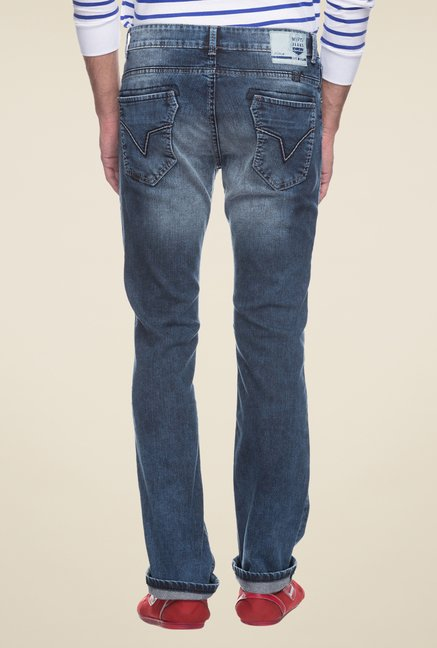 Mufti Blue Straight Fit Solid Cotton Jeans