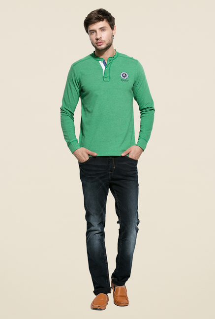 Mufti Green Slim Fit Henley T Shirt