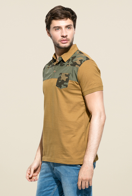 Mufti Camel Slim Fit Polo T Shirt