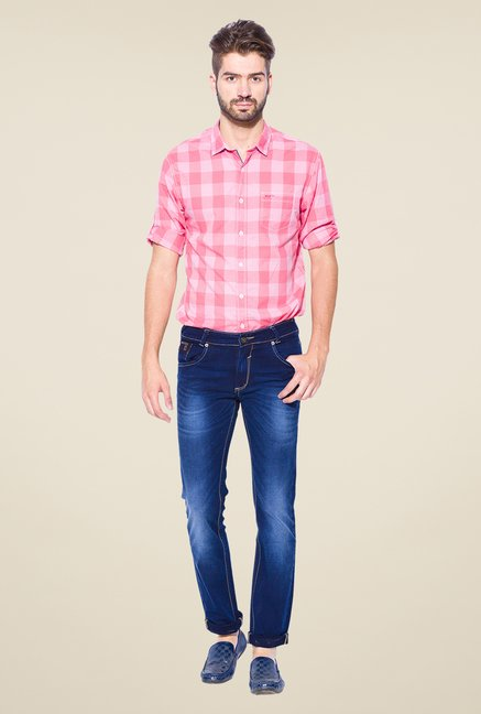Mufti Blue Lightly Washed Skinny Fit Jeans
