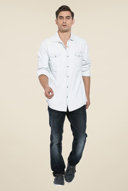 Mufti Ice Blue Solid Shirt