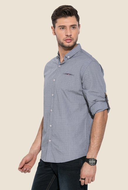 Mufti Grey Printed Cotton Shirt