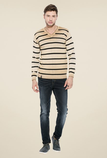 Mufti Khaki Striped Sweatshirt