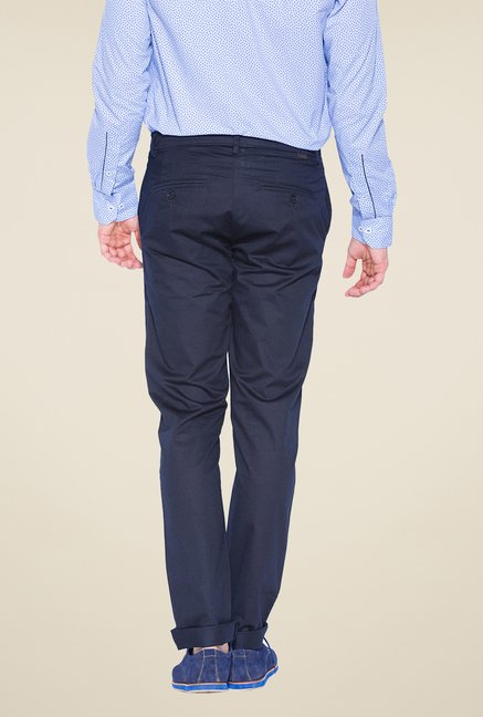 Mufti Navy Slim Fit Pleated Trousers