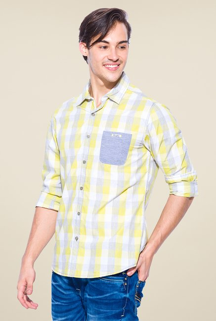 Mufti Lime & Grey Checked Shirt