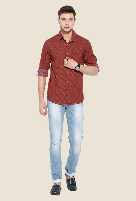 Mufti Maroon Printed Full-sleeved Shirt