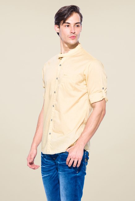 Mufti Yellow Solid Shirt