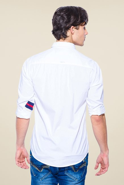 Mufti Sky Blue Solid Shirt