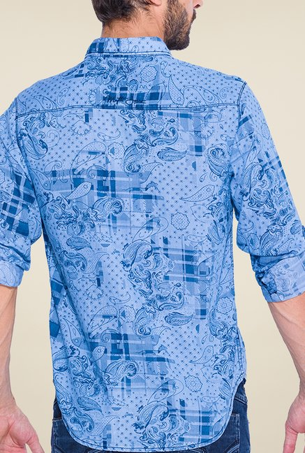 Mufti Light Blue Printed Shirt