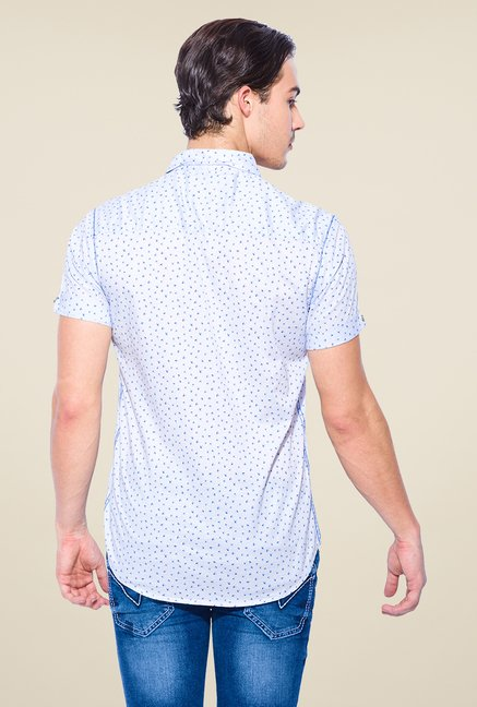 Mufti Sky Blue Bird Print Shirt