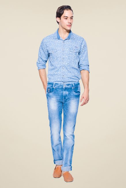 Mufti Light Blue Skinny Fit Jeans