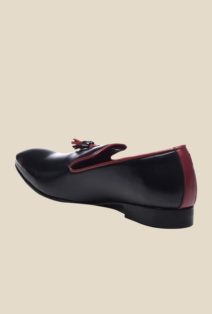 Bruno Manetti Black & Maroon Casual Moccasins