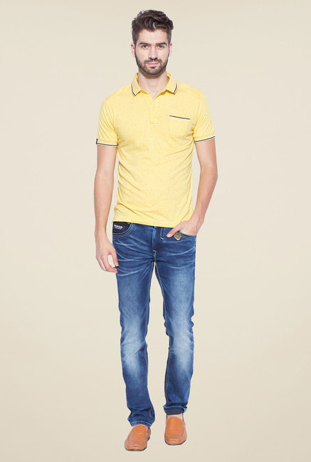 Mufti Yellow Slim Fit Polo T Shirt