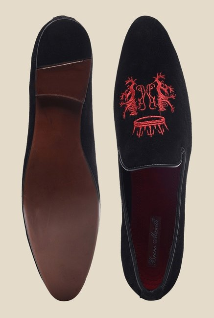 Bruno Manetti Black & Red Casual Loafers