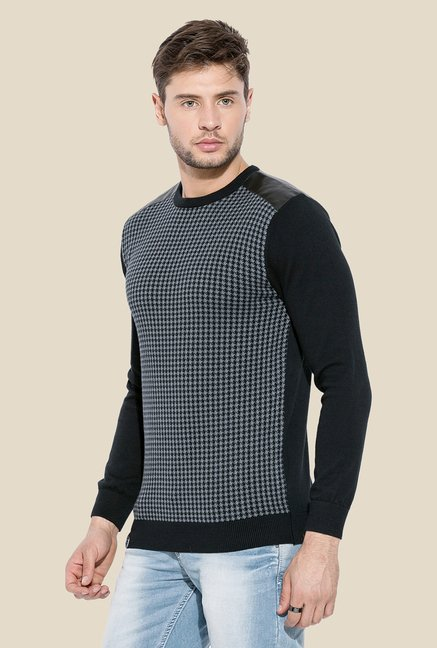Mufti Grey & Black Houndstooth Sweatshirt