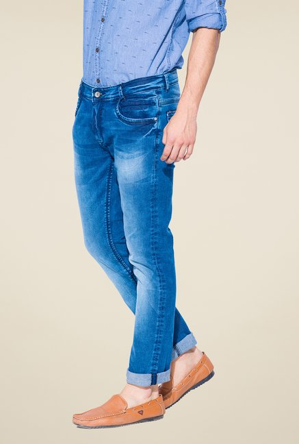 Mufti Dark Blue Slim Fit Cotton Jeans