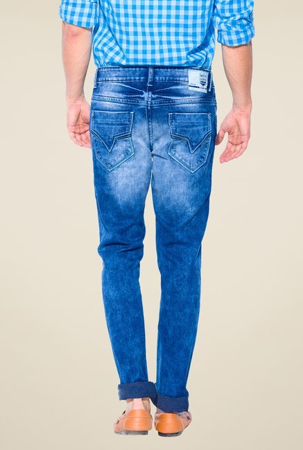 Mufti Dark Blue Heavily Washed Slim Fit Jeans