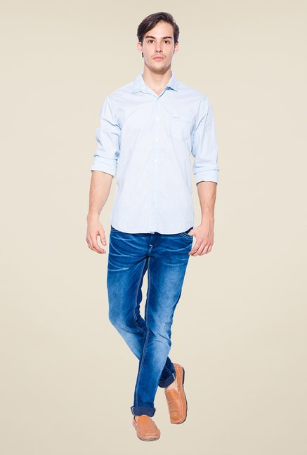 Mufti Sky Blue Printed Shirt