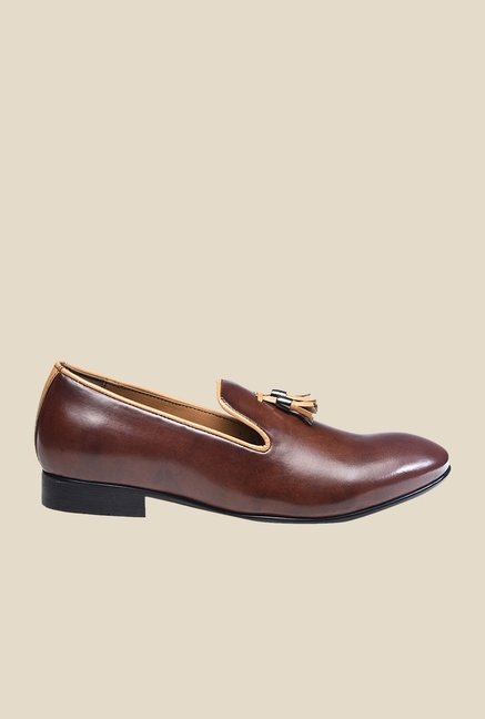 Bruno Manetti Brown Heeled Moccasins