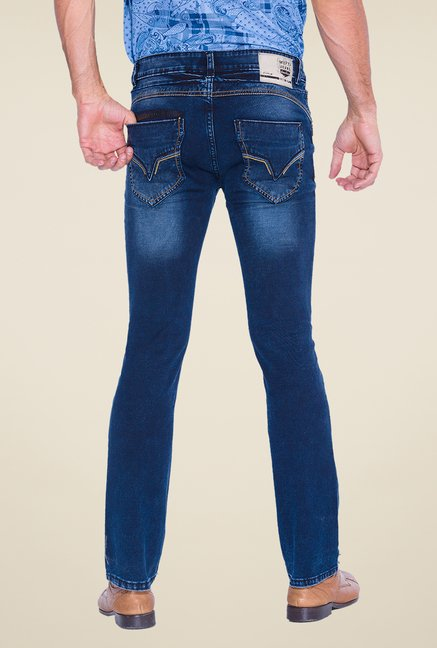 Mufti Blue Lightly Washed Slim Fit Jeans