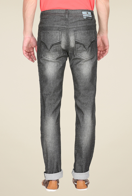 Mufti Grey Heavily Washed Jeans