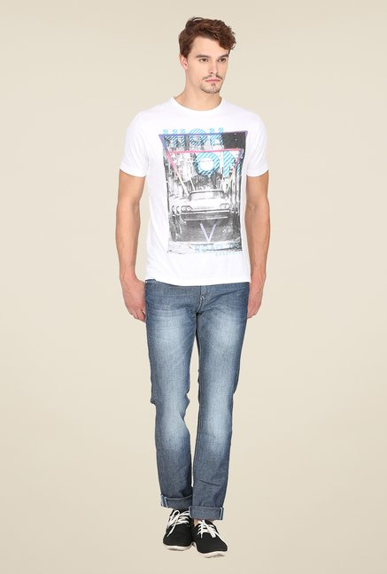 Mufti Blue Slim Fit Lightly Washed Jeans