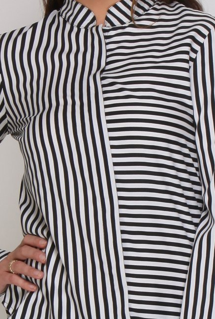 Kaaryah White & Black Stripes Shirt