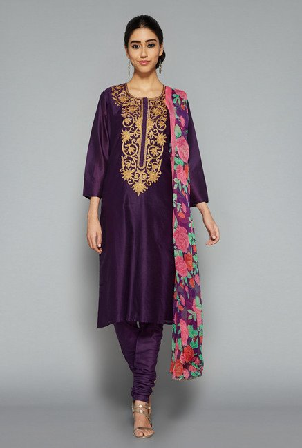Vark by Westside Purple Embroidered Suit Set