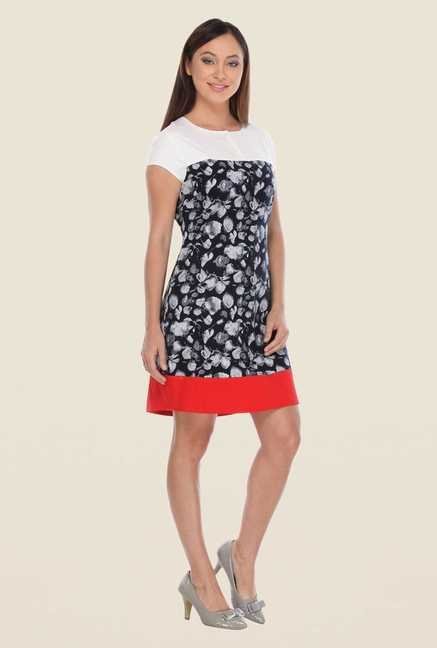 Kaaryah Navy & White Printed Dress
