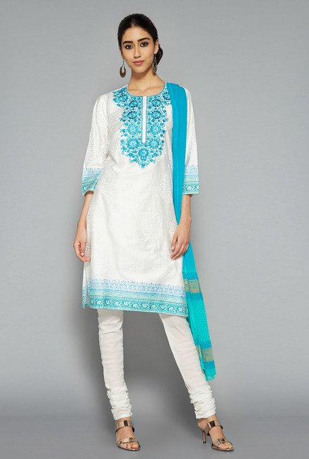 Vark by Westside White Embroidered Suit Set