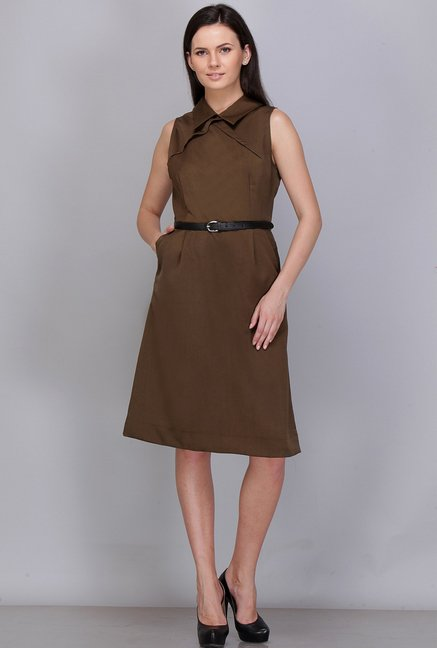 Kaaryah Olive Solid Dress