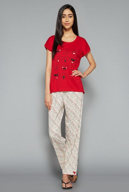 Intima by Westside Beige & Red Printed Pyjama Set