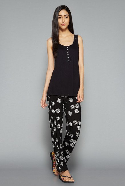 Intima by Westside Black Floral Print Pyjama Set