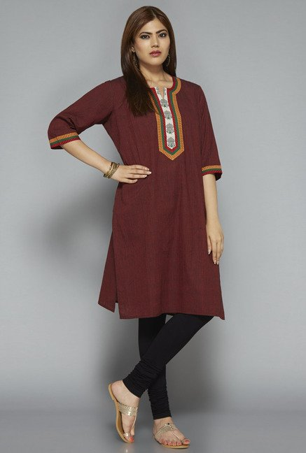 Gia by Westside Maroon Striped Kurta