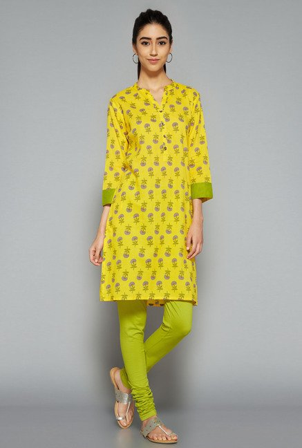 Utsa by Westside Yellow Floral Print Kurti