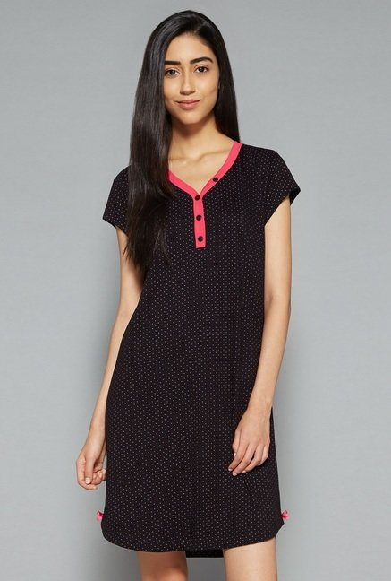 Intima by Westside Black Printed Nightdress
