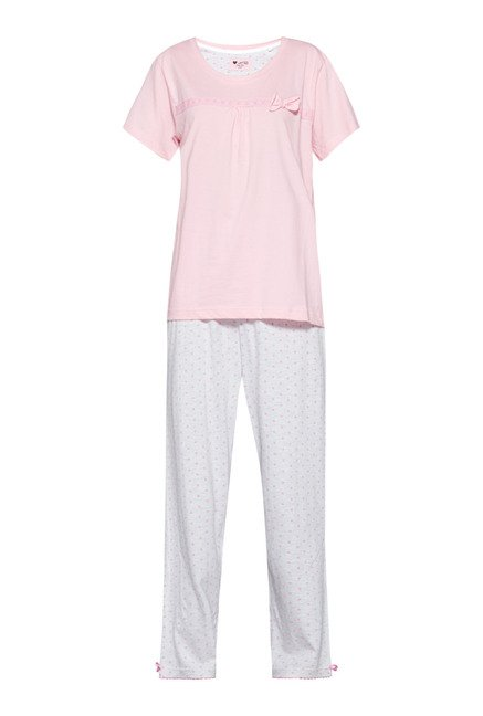 Intima by Westside Grey & Pink Printed Pyjama Set
