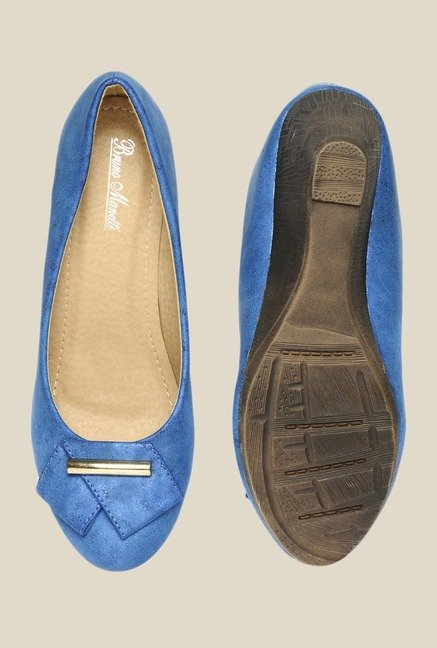 Bruno Manetti Blue Wedge Heeled Pumps
