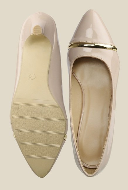 Bruno Manetti Beige Kitten Heeled Pumps