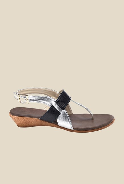 Bruno Manetti Silver & Black Back Strap Sandals