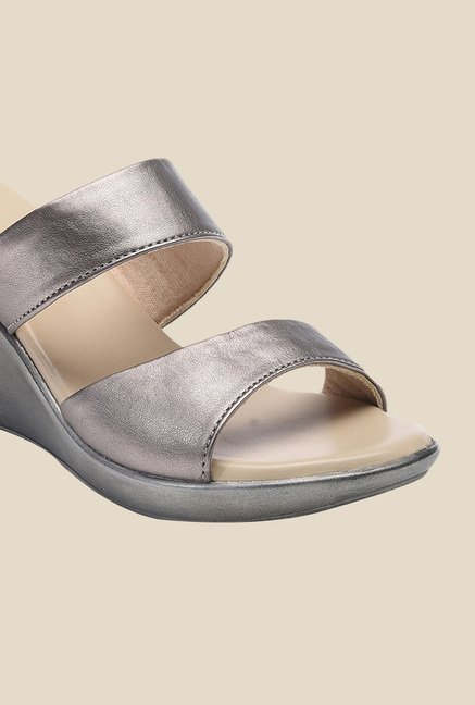 Bruno Manetti Gun Metal Wedge Heeled Sandals