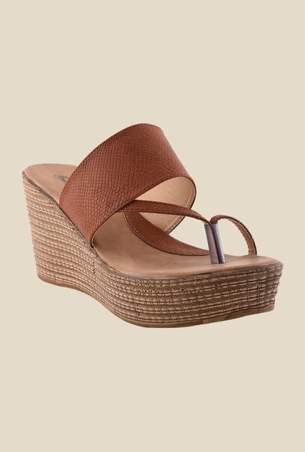 Bruno Manetti Tan Toe Ring Wedges