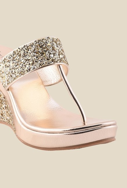Bruno Manetti Golden T-Strap Wedges