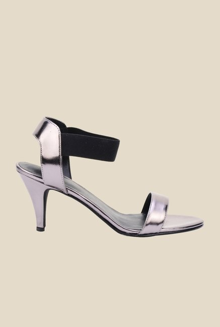 Bruno Manetti Silver & Charcoal Ankle Strap Stilettos