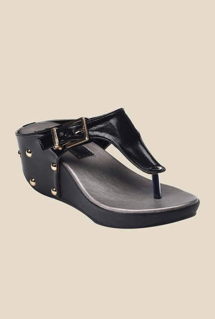 Bruno Manetti Black Thong Sandals